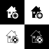 Set Smart home icon isolated icons isolated on black and white background. Remote control. Vector Illustration