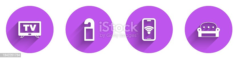 istock Set Smart Tv, Please do not disturb, Mobile with wi-fi wireless and Sofa icon with long shadow. Vector 1342251734