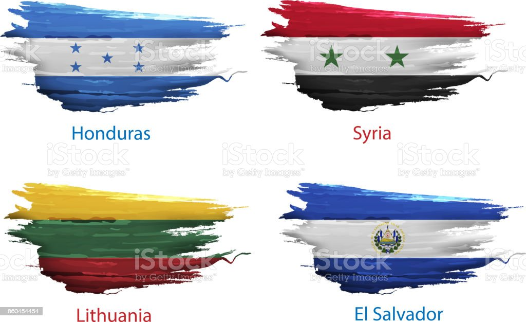 set smear paint of flag country on white background vector art illustration