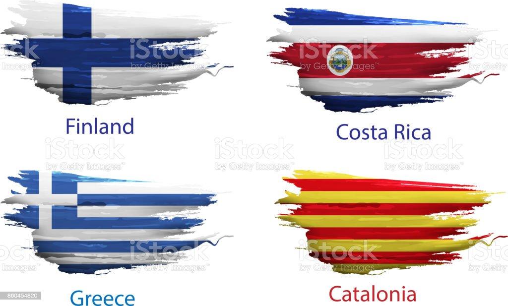 conjunto de pintura de esfregaço do país de bandeira em fundo branco - ilustração de arte em vetor