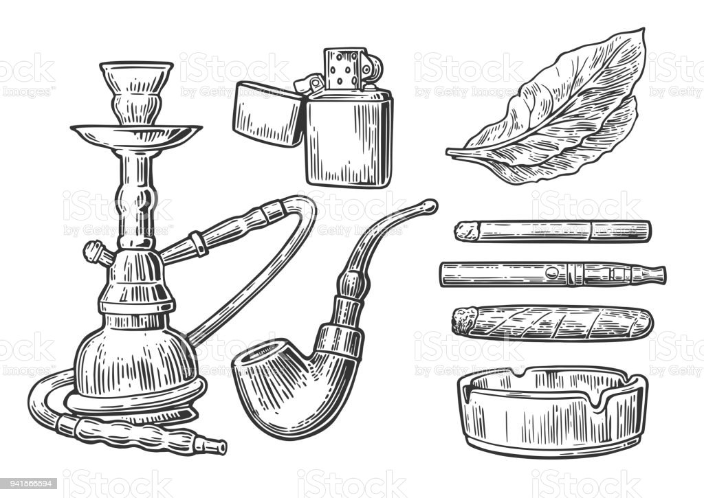 Ilustración de Establecer Elementos De Tabaco De Fumar Cachimba ...