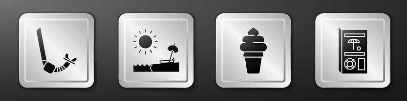 Set Snorkel, Beach with umbrella and chair, Ice cream in waffle cone and Travel brochure icon. Silver square button. Vector
