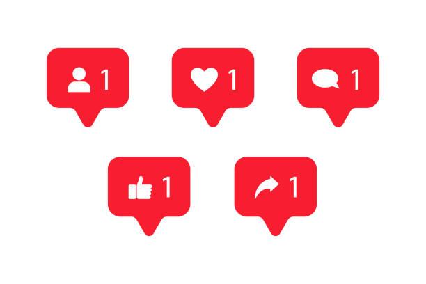 bildbanksillustrationer, clip art samt tecknat material och ikoner med ange sociala medier meddelanden ikoner i röd färg på vit bakgrund isolerad. - social media post template