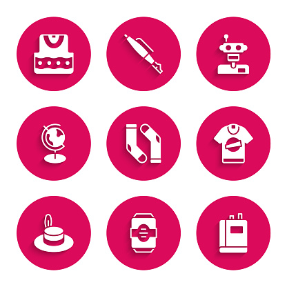 Set Socks, Energy drink, Book, T-shirt, Man hat, Earth globe, Robot and Waistcoat icon. Vector
