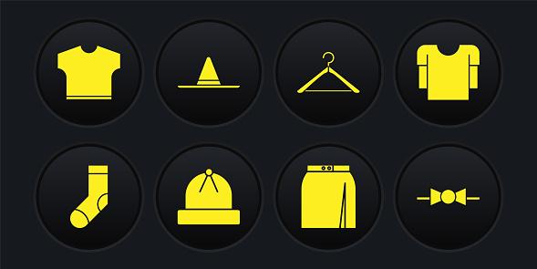 Set Socks, Long sleeve shirt, Winter hat, Skirt, Hanger wardrobe, Gardener worker, Bow tie and T-shirt icon. Vector