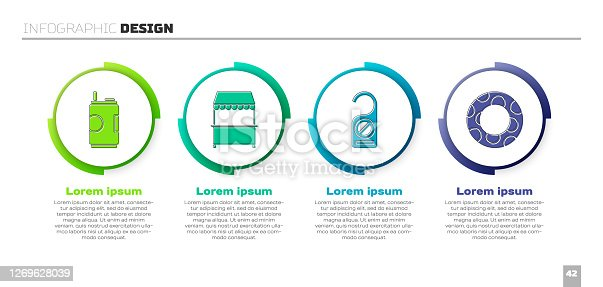 Set Soda can, Street stall with awning, Please do not disturb and Rubber swimming ring. Business infographic template. Vector