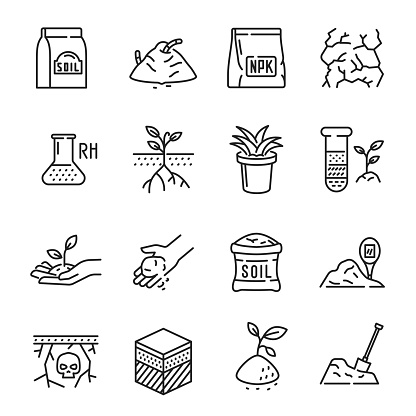 Set soil monochrome contour line icon vector illustration. Collection of growing sprouts agriculture agronomy eco friendly nature healthy lifestyle isolated on white. Organic environment cultivation