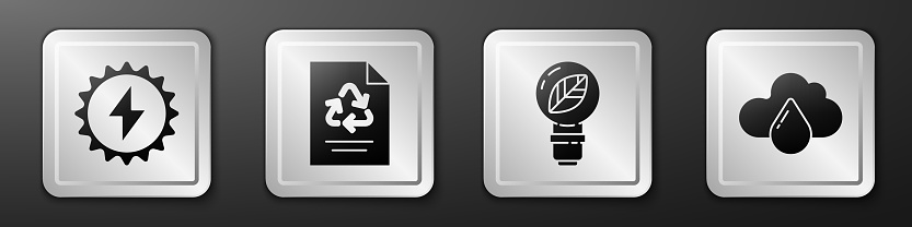 Set Solar energy panel, Paper with recycle, Light bulb with leaf and Cloud with rain icon. Silver square button. Vector