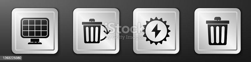 istock Set Solar energy panel, Recycle bin with recycle, Solar energy panel and Trash can icon. Silver square button. Vector 1263225380