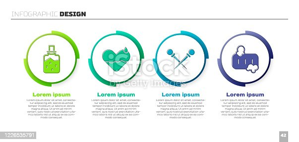 Set Spa salt, Heart heal, Knitting needles and Bar of soap with foam. Business infographic template. Vector
