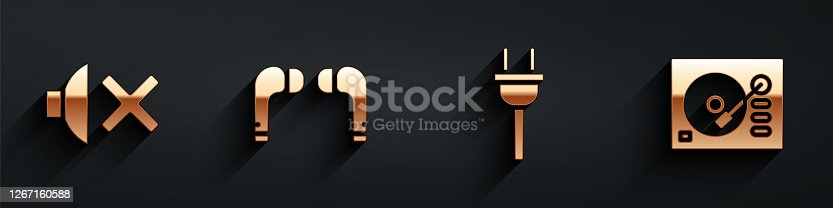 Set Speaker mute, Air headphones, Electric plug and Vinyl player icon with long shadow. Vector