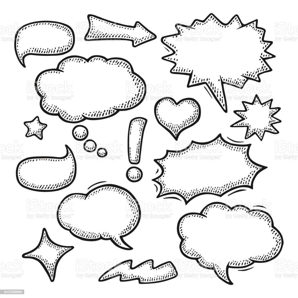 Set speech and thought bubbles. Vintage vector engraving vector art illustration