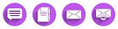 Set Speech bubble chat, Document and pen, Envelope and Delete envelope icon with long shadow. Vector