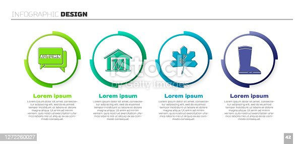 istock Set Speech bubble with text autumn, Farm house, Leaf or leaves and Waterproof rubber boot. Business infographic template. Vector 1272260027