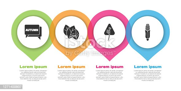istock Set Speech bubble with text autumn, Leaf or leaves, Leaf or leaves and Corn. Business infographic template. Vector 1271400937