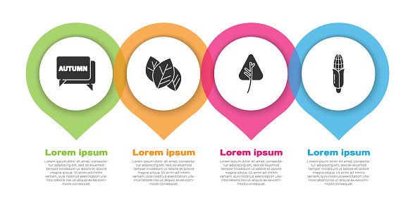 Set Speech bubble with text autumn, Leaf or leaves, Leaf or leaves and Corn. Business infographic template. Vector