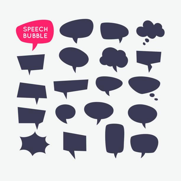 Conjunto de bolhas do discurso e o modelo em branco para citações - ilustração de arte em vetor
