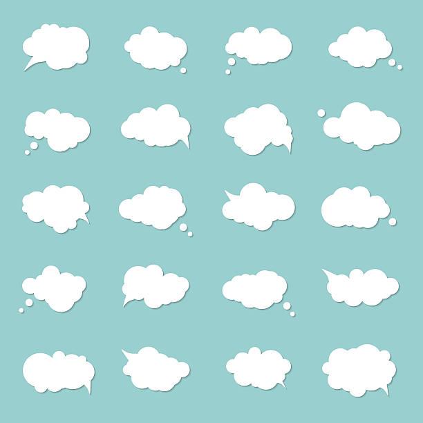 set speech bubbles, pop art style. think cloud, comic book - 吹き出し点のイラスト素材/クリップアート素材/マンガ素材/アイコン素材