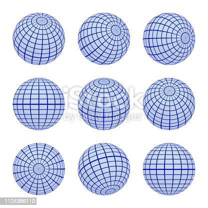 Set spheres globe earth grid from different sides. Horizontal and vertical lines, latitude and longitude in blue colors