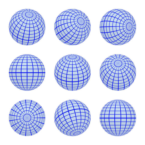ilustrações de stock, clip art, desenhos animados e ícones de set spheres globe earth grid from different sides. horizontal and vertical lines, latitude and longitude in blue colors - latitude
