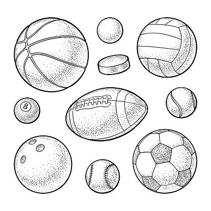 Set sport balls icons. Engraving black illustration. Isolated on white