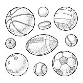 Set different kinds sport balls icons. Engraving vintage vector black illustration. Isolated on white background. Hand drawn design element for label and poster