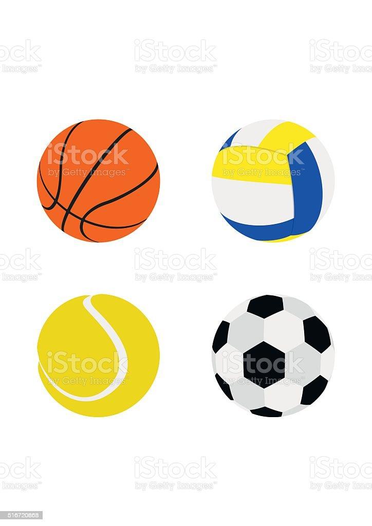 c759a680921 Conjunto de pelotas de deportes de estilo plano aislado sobre fondo blanco.  ilustración de conjunto