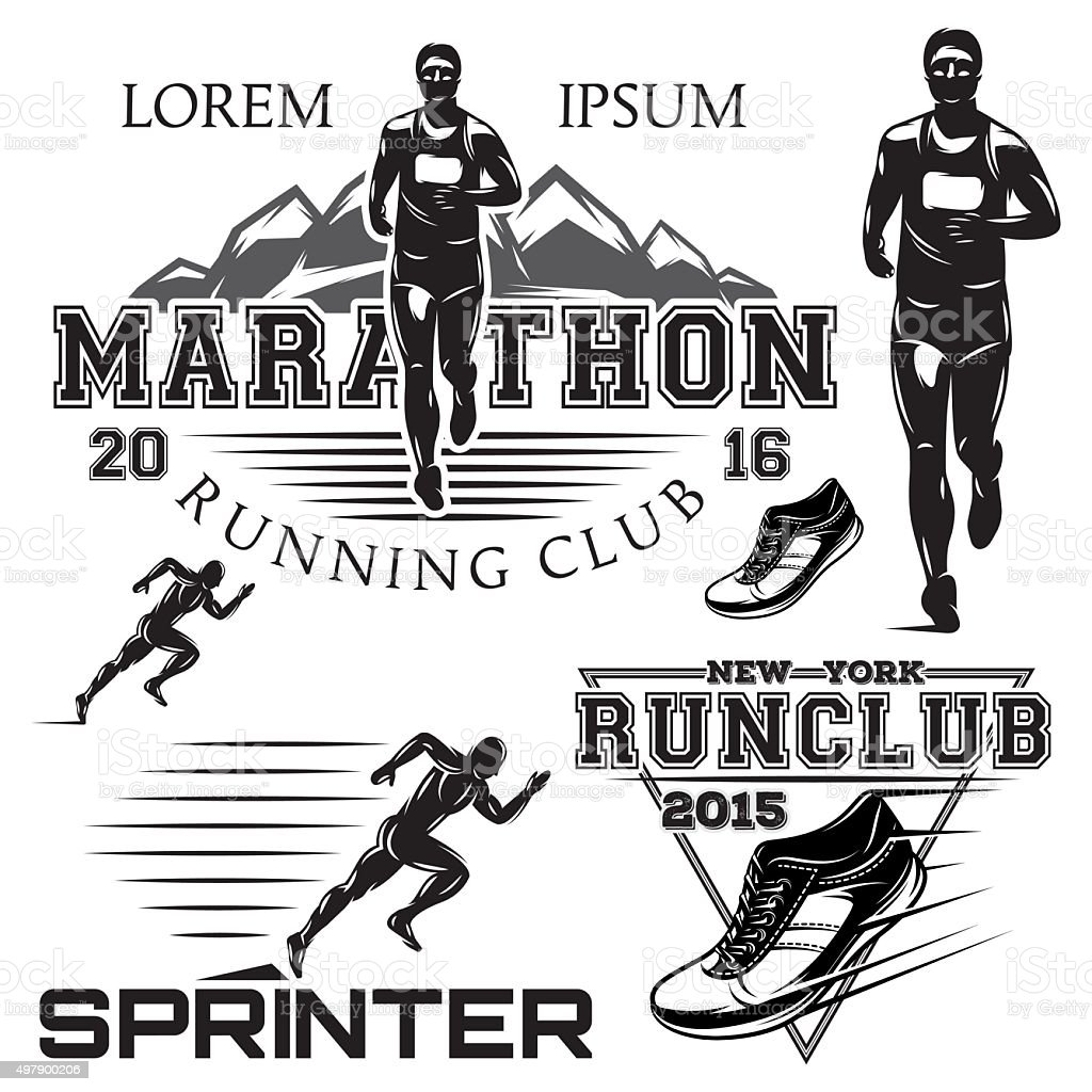 set sports emblems for the sprint and marathon vector art illustration