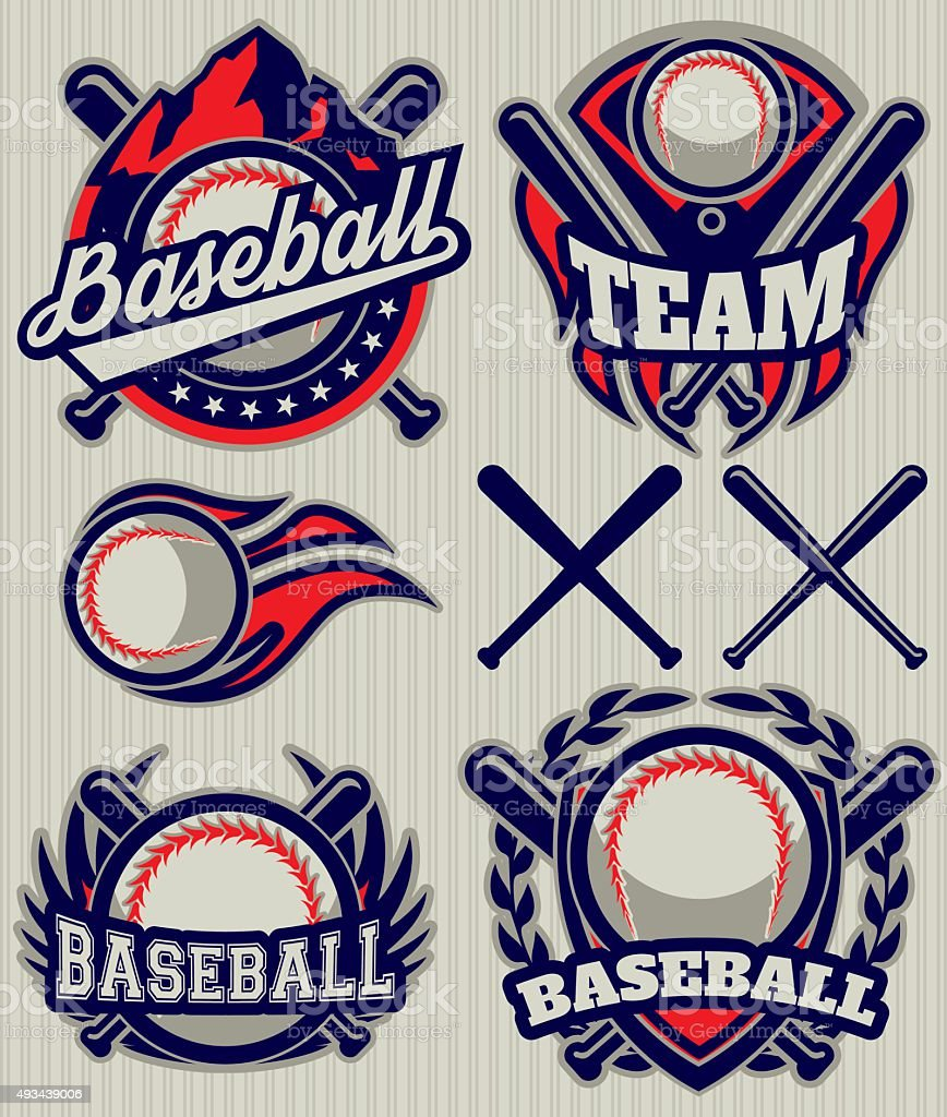 set sports template with ball and bats for baseball vector art illustration
