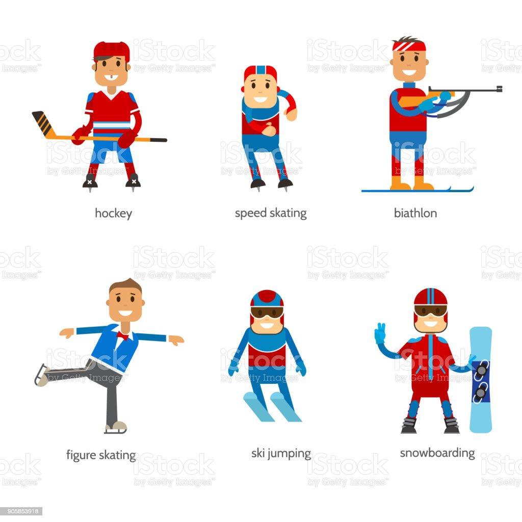 Setzen Sie Sportler Wintersport auf weißem Hintergrund. – Vektorgrafik