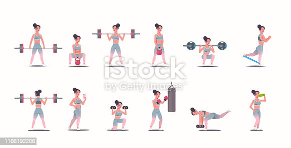 set sporty girl doing different exercises engaged in sports sport activities collection attractive sportswoman in sportswear training workout healthy lifestyle concept full length horizontal vector illustration