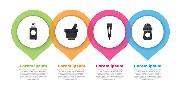 Set Spray can for hairspray, Mortar and pestle, Cream or lotion cosmetic tube and Antiperspirant deodorant roll. Business infographic template. Vector