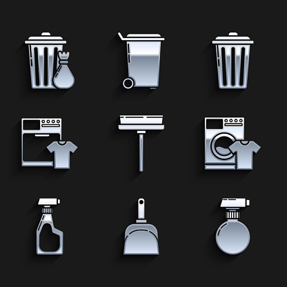 Set Squeegee, scraper, wiper, Dustpan, , Washer and t-shirt, Cleaning spray bottle with detergent liquid, Trash can and garbage bag icon. Vector
