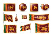 Set Sri Lanka flags, banners, banners, symbols, flat icon. Vector illustration of collection of national symbols on various objects and state signs