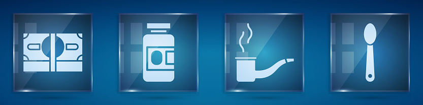 Set Stacks paper money cash, Medicine bottle and pills, Smoking pipe and Heroin in a spoon. Square glass panels. Vector