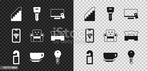 istock Set Stairs, Hotel door lock key, Smart Tv, Please not disturb, Coffee cup, Mobile with wi-fi wireless and Armchair icon. Vector 1337013664