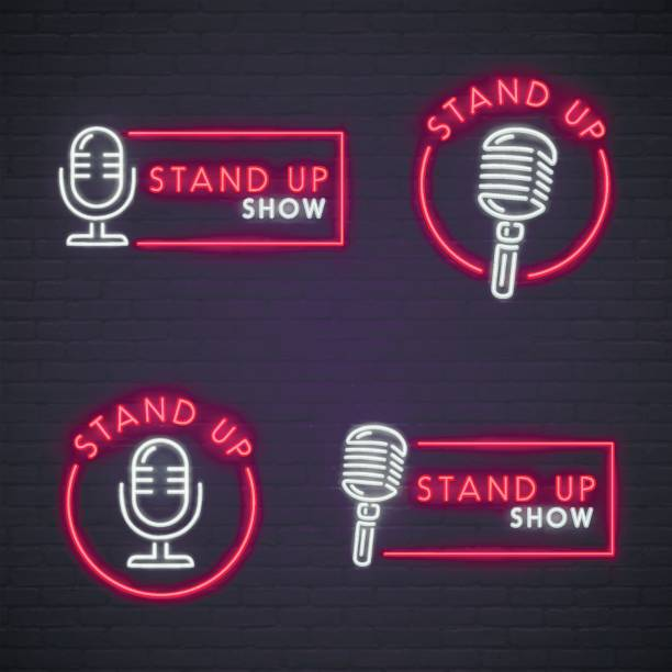 set stand up neon sign. neon sign, bright signboard, light banner. - comedian stock illustrations