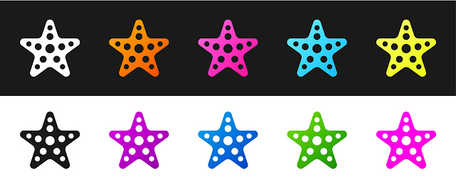 Set Starfish icon isolated on black and white background. Vector