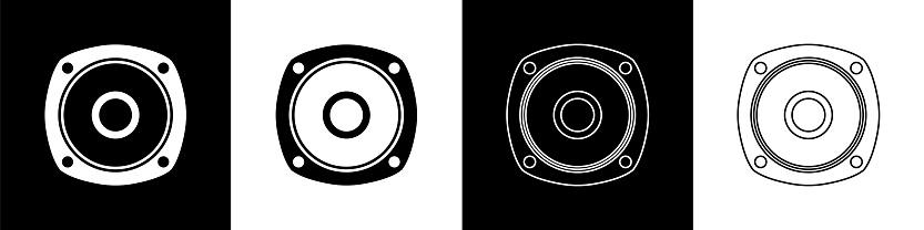 Set Stereo speaker icon isolated on black and white background. Sound system speakers. Music icon. Musical column speaker bass equipment. Vector Illustration