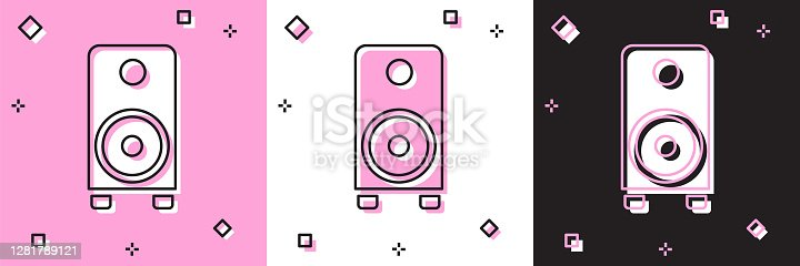 Set Stereo speaker icon isolated on pink and white, black background. Sound system speakers. Music icon. Musical column speaker bass equipment. Vector.