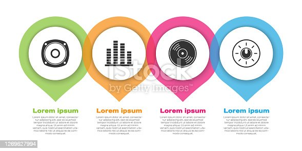 istock Set Stereo speaker, Music equalizer, Vinyl disk and Dial knob level technology settings. Business infographic template. Vector 1269627994