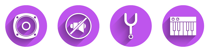 Set Stereo speaker, Speaker mute, Musical tuning fork and Music synthesizer icon with long shadow. Vector