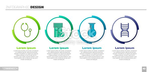 istock Set Stethoscope, Medicine bottle and pills, Test tube and flask and DNA symbol. Business infographic template. Vector 1256856324