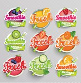 Smoothie, Freshes, Fresh, Grapefruit, Carrot, Cucumber, Raspberries, Blueberries, Strawberries, Kiwi, Orange, Lime, Symbols, Icons, Label