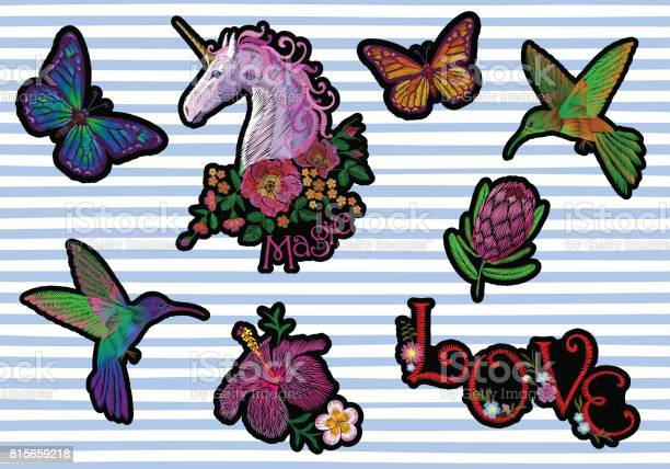 Set sticker badges embroidery patch unicorn flower hummingbird vector id815659218?b=1&k=6&m=815659218&s=612x612&h=khbhz13iqa c0mjkdzqs 9gmztj 1dgo45 slsls7bc=
