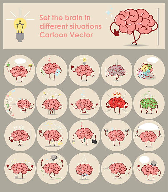 Set stickers brains in different situations. Vector cartoon icons vector art illustration