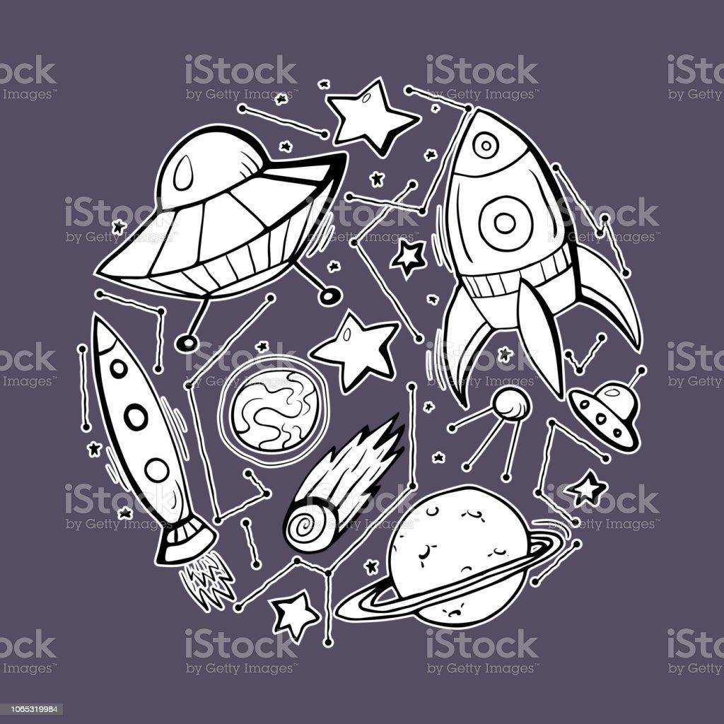 Set Stickers Of Contour Child Illustrations Of Stars