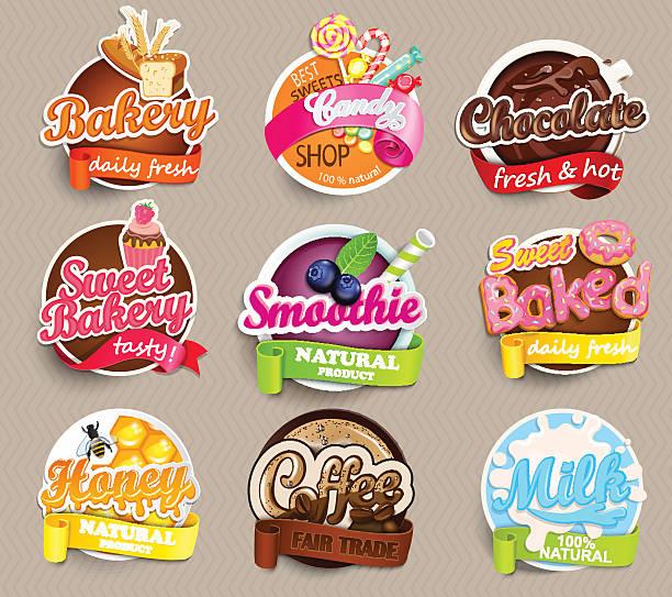 ilustraciones, imágenes clip art, dibujos animados e iconos de stock de conjunto de pegatinas de comida. - comida casera