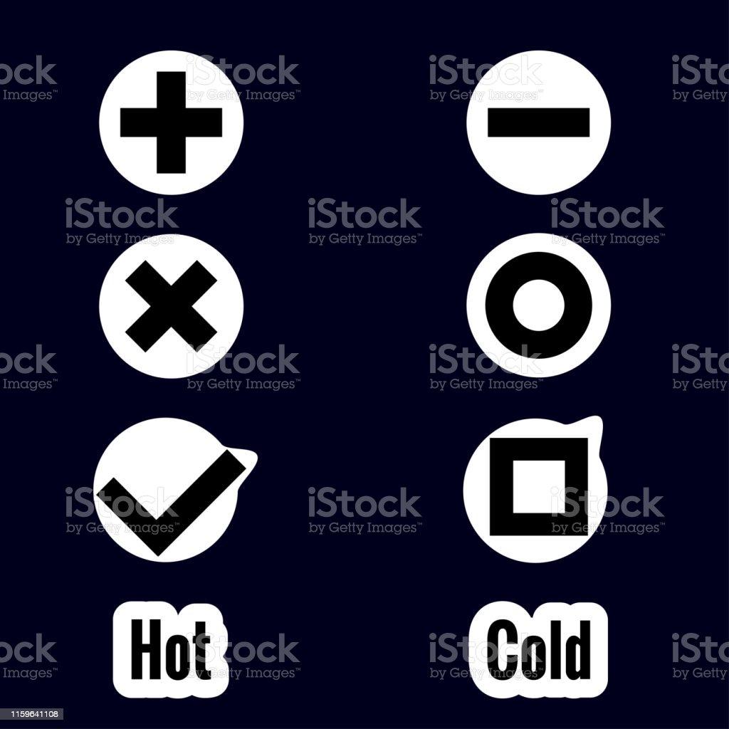 Setzen Sie Aufkleber Von Symbolen In Flachem Stil Auf