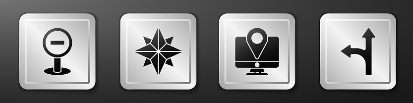 Set Stop sign, Wind rose, Monitor with location marker and Road traffic sign icon. Silver square button. Vector